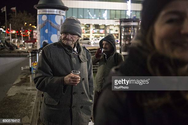 Homeless persons during Christmas Eve dinner for homeless persons made by quotDaj Herbatequot foundation near Central Railway Station in Warsaw...
