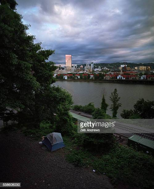 Homeless tent on the edge of downtown Portland