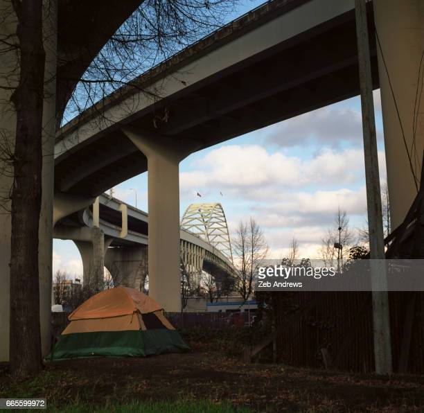 Homeless tent pitched under bridge overpass