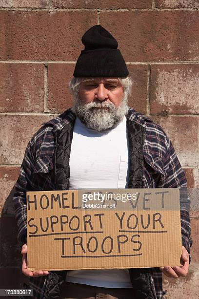 homeless vet in need - homeless veterans stock photos and pictures