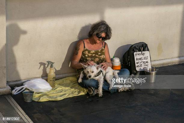 A homeless woman and her dog sit on a pedestrian bridge in the sun and 115 degree heat on July 13 2017 in Las Vegas Nevada Despite record...