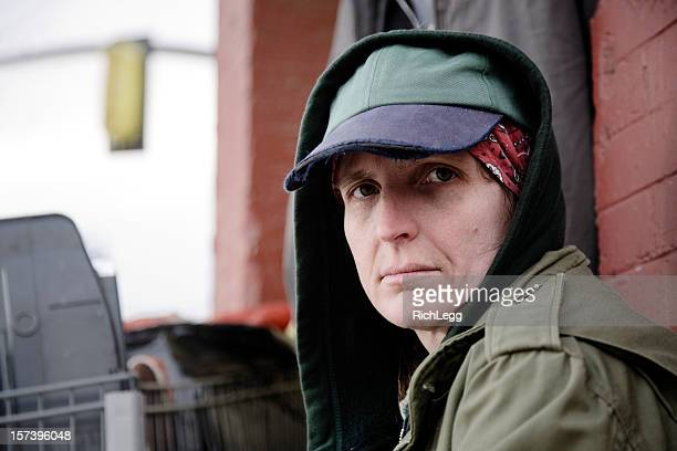homeless woman on a city street - homeless stock photos and pictures