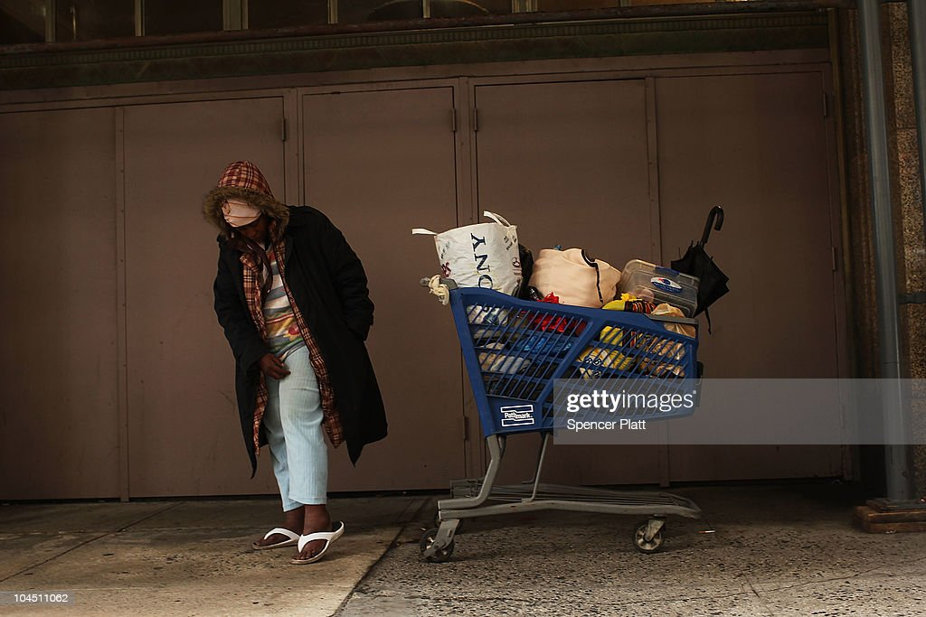A homeless woman stands in the street on September 28, 2010 in the Brooklyn borough of New York City. A new report released by the U.S. Census Data shows that the income gap between Americans is greater than at any other time on record. The report found that the top-earning 20% of Americans received 49.4% of the country's total income. Conversely, those living below the poverty line earned 3.4% of the national income. This is the highest disparity of wealth among all Western industrialized nations.