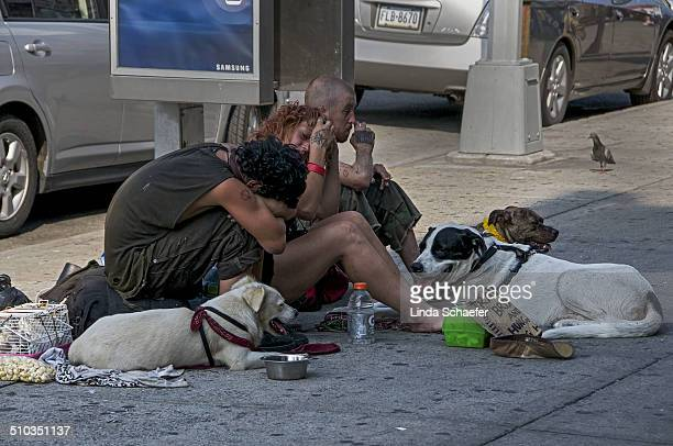 Homeless young adults huddled around on the sidewalk near the entrance of the Coney Island amusement park They have three dogs with them