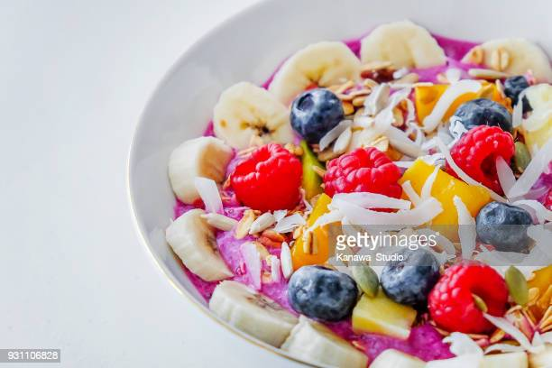 homemade acai bowl for breakfast - acai stock pictures, royalty-free photos & images