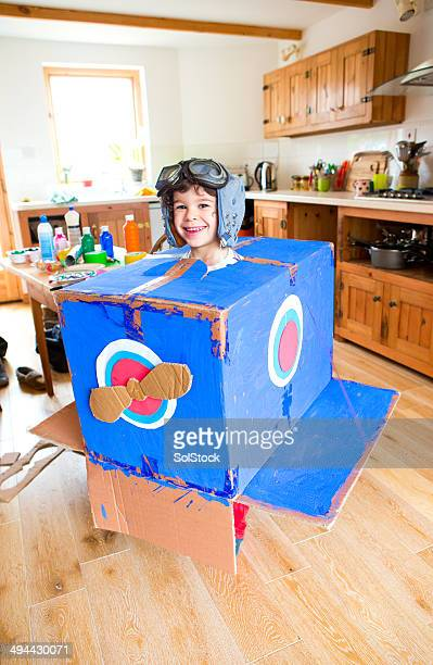 homemade aeroplane - art and craft stock pictures, royalty-free photos & images