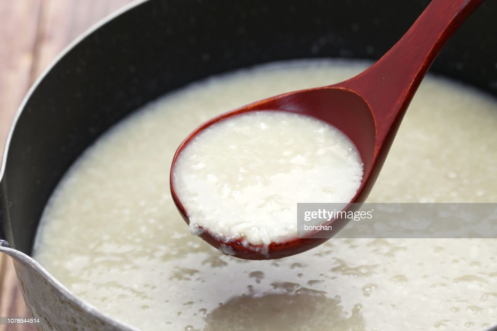 homemade Amazake, Japanese traditional sweet drink made from rice koji. : Stock Photo