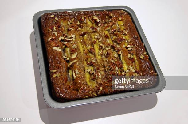 Homemade banana and pecan cake in a baking pan