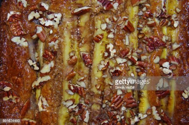 Homemade banana and pecan cake