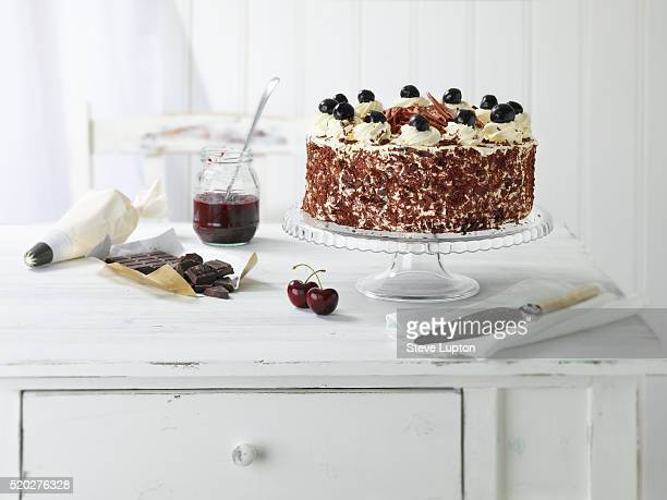 Homemade Black Forest Gateau on a cakestand.