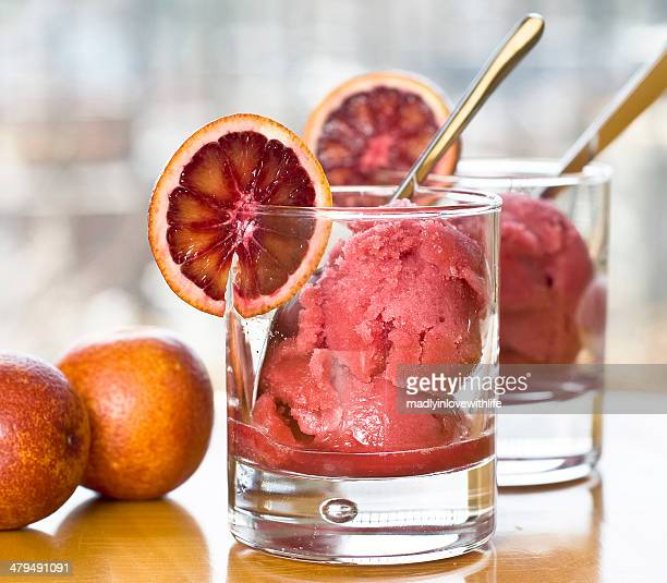 homemade blood orange sorbet - sorbet stock pictures, royalty-free photos & images