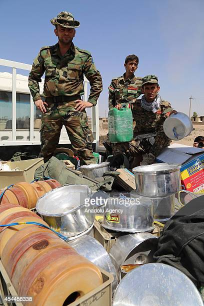 Homemade bombs are defused by Iraqi Kurdish peshmerga forces after US army set an offensive in northern city Mosul Iraq on August 31 2014 The US on...