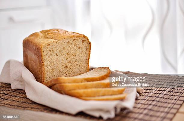 Homemade bread freshly baked and sliced