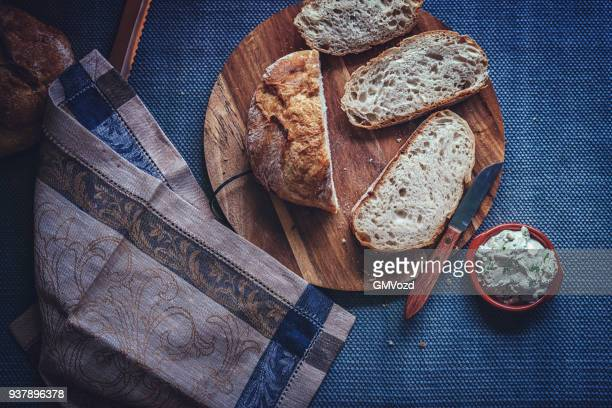 Homemade Bread with Fresh Cream Cheese with Chives