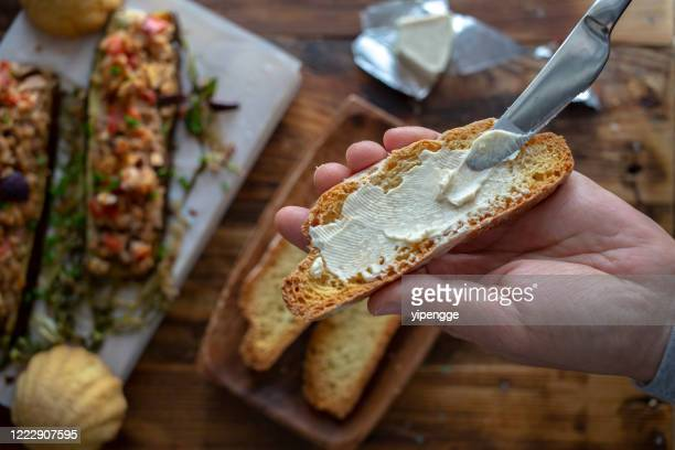 homemade breakfast: cream cheese toast and spicy toasted eggplant - cream cheese stock pictures, royalty-free photos & images