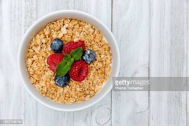 homemade breakfast - granola stock pictures, royalty-free photos & images