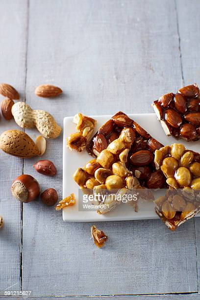 Homemade brittle, nuts and almonds