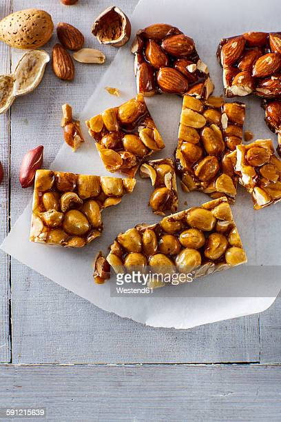 Homemade brittle on parchment paper