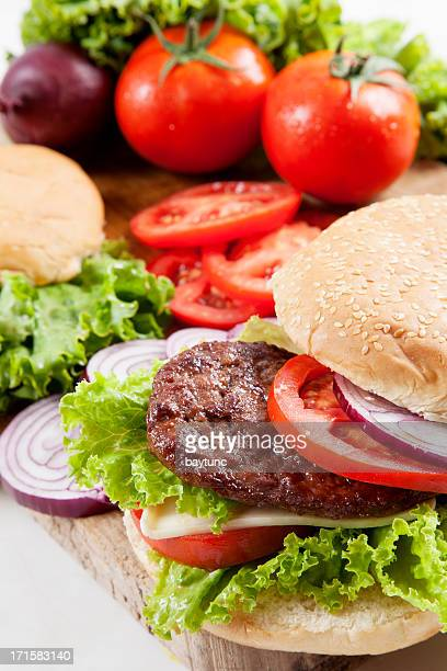 Homemade burger with vegetables