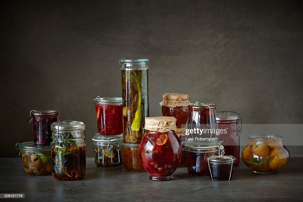Homemade canned goods : Stock Photo