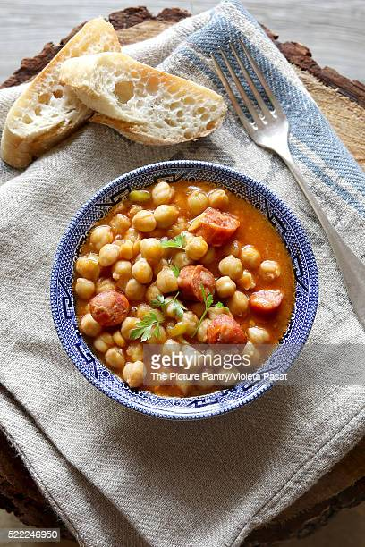 Homemade chickpea stew with chorizo