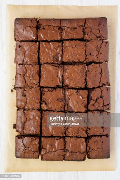 homemade chocolate brownies baking sheet overhead