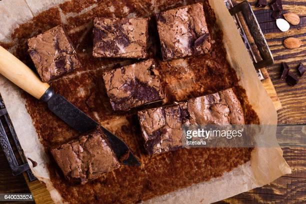 Homemade chocolate brownies with cream cheese