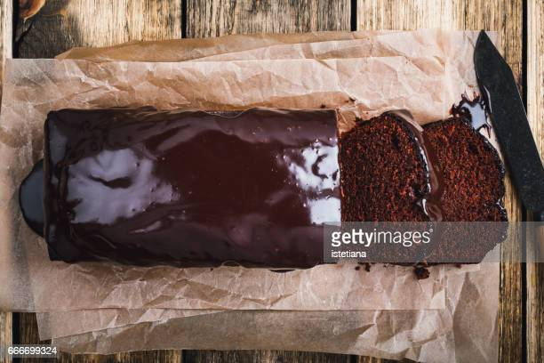 homemade chocolate cake, top view - chocolate cake above stock pictures, royalty-free photos & images