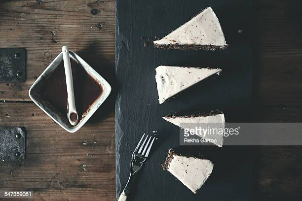 Homemade chocolate cake with frosting