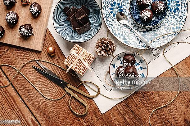 Homemade chocolate candy gift overhead table top