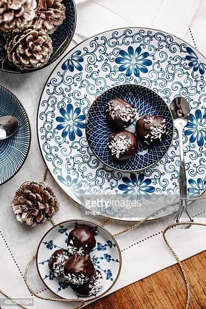 Hausgemachte Pralinen overhead-Tisch
