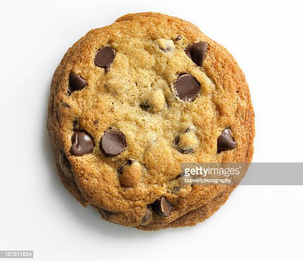 Homemade Chocolate Chip Cookie on white, overhead, XXXL