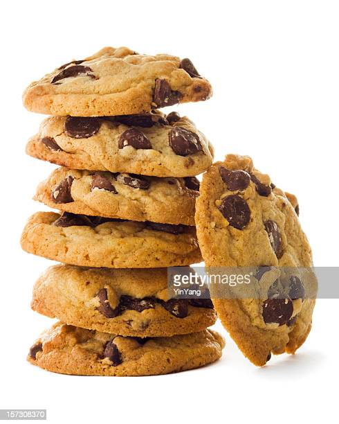 Homemade Chocolate Chip Cookies Stacked Tower Isolated on White Background
