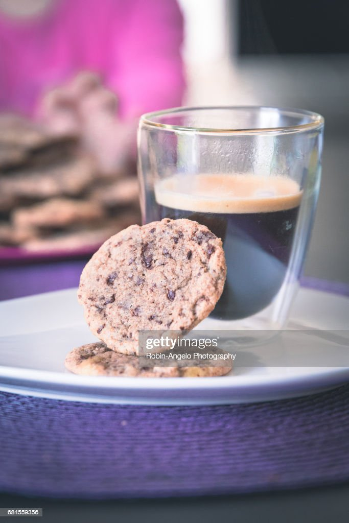 Homemade chocolate cookies with a hot black coffee : Photo