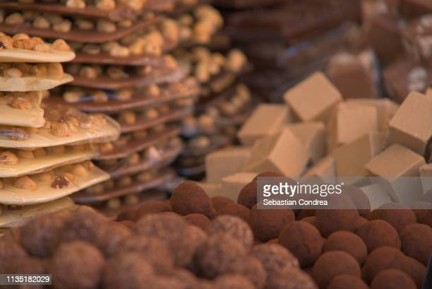 homemade chocolate italian pastry from a shop in verona, italy, discovering italy - chocolate shop stock pictures, royalty-free photos & images