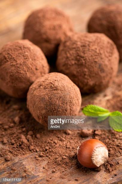 homemade chocolate truffles - nougat stock pictures, royalty-free photos & images