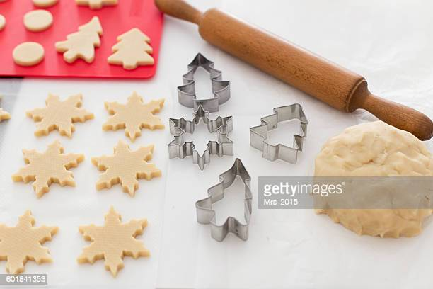 Homemade Christmas cookies being prepared