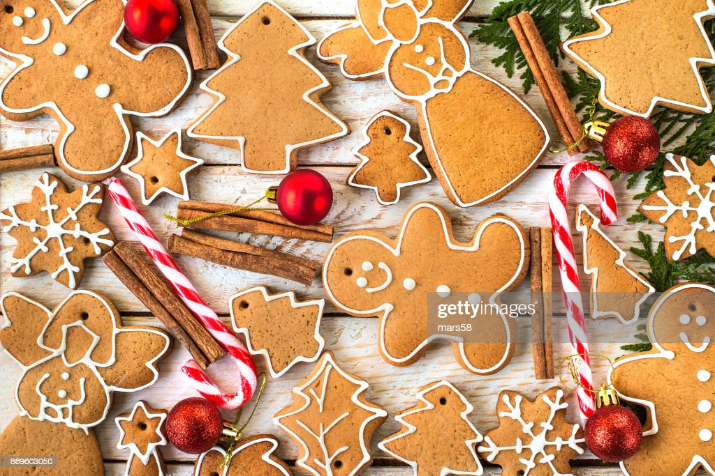 homemade christmas cookies on wooden table stock photo - Homemade Christmas Cookies