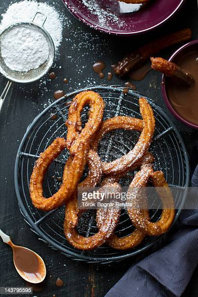 Homemade churros with hot chocolate