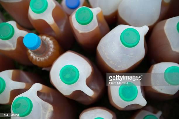 Homemade cider in plastic milk bottles
