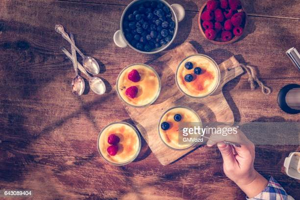 Homemade Creme Brulee with Berries