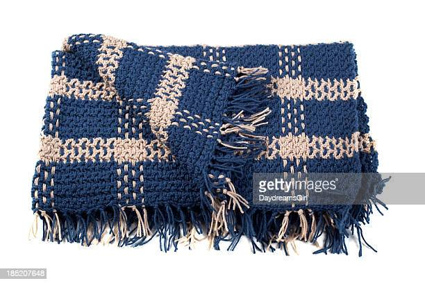 Homemade Crocheted Yarn Afghan Blanket Isolated on White Background