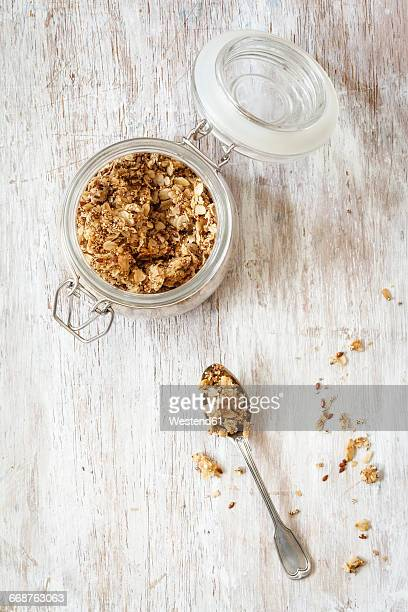 Homemade crunchy muesli, oat, amaranth and linseed