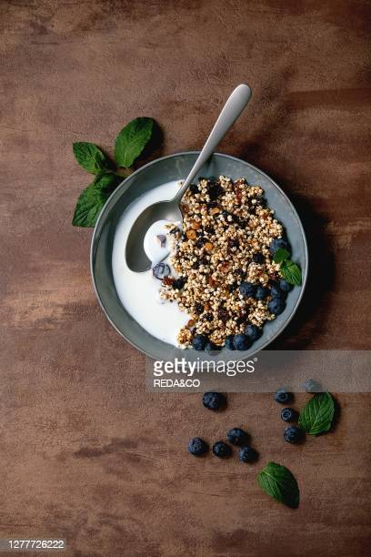 Homemade crunchy puffed millet grain granola with dried fruits and nuts in ceramic bowl. With yogurt. Mint and ingredients above. Brown texture...