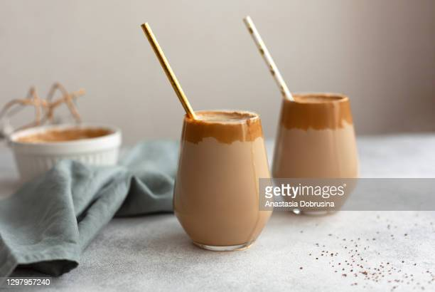 homemade dalgona coffee. a trendy drink from korea. - coffee drink stock pictures, royalty-free photos & images