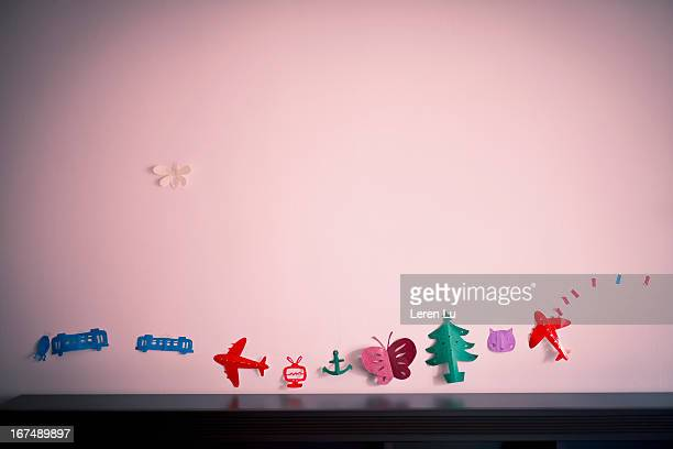 Homemade decorations in child's room