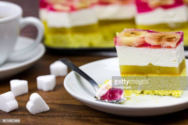 Homemade dessert Apple Pie With Whipped Cream and pink jelly