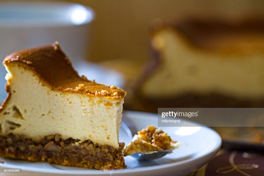 Homemade dessert Cheesecake with walnuts : Stock Photo