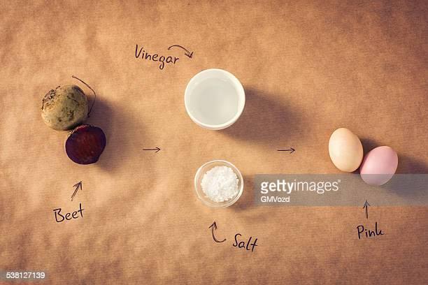 Hausgemachte gefärbt Ostern Eier mit Rote Rübe