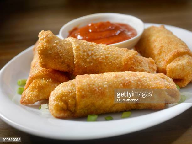 homemade egg rolls with dipping sauce - chinese food stock pictures, royalty-free photos & images